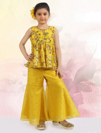 Printed yellow shade sharara suit for little girls