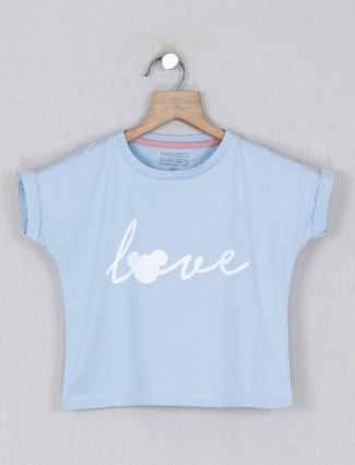 Pro Energy blue casual cotton printed top for girls