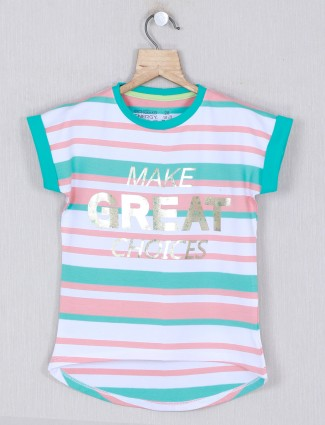 pro Energy printed green and white cotton top for girls