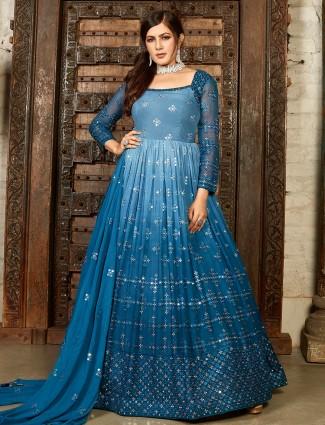Prussian blue color designer floor length gown in georgette