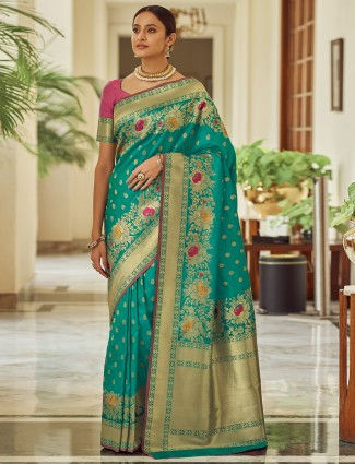 Prussian blue saree in banarasi silk fabric