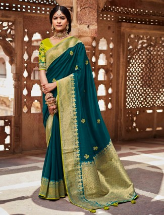 Prussian blue wedding events silk saree