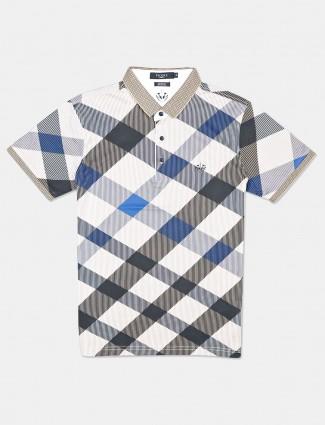 Psoulz blue checks cotton polo mens t-shirt