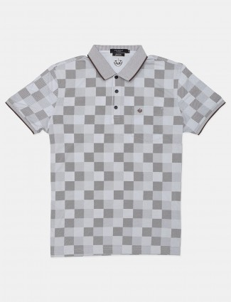 Psoulz brown and white checks casual mens polo t-shirt