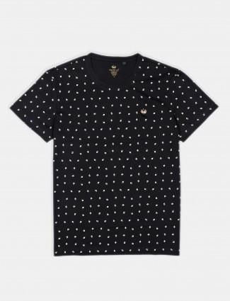 Psoulz casual wear printed black t-shirt