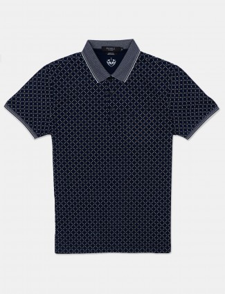 Psoulz casual wear printed navy cotton polo t-shirt