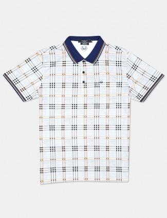 Psoulz checks grey polo t-shirt