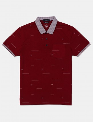 Psoulz maroon printed polo t-shirt for men