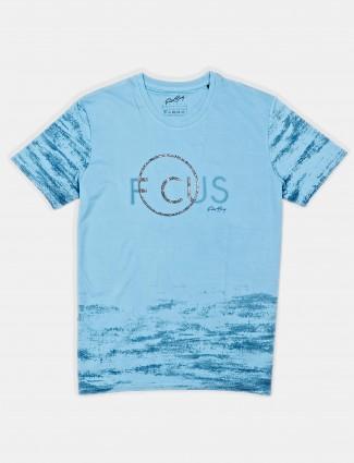 Psoulz mens blue printed round t-shirt