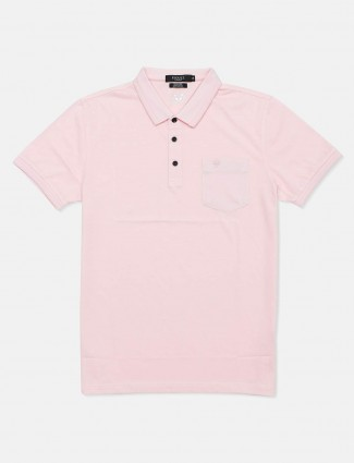 Psoulz pink solid half sleeves t-shirt