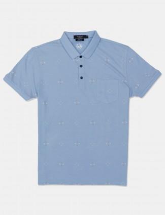 Psoulz printed blue polo t-shirt