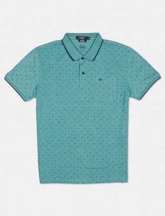 Psoulz printed green colour cotton t-shirt