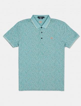 Psoulz printed green half sleeve polo t-shirt
