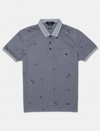Psoulz printed grey casual mens polo t-shirt