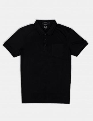 Psoulz solid black cotton slim fit polo t-shirt