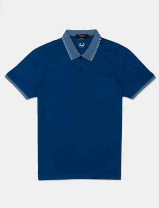Psoulz solid blue cotton polo t-shirt