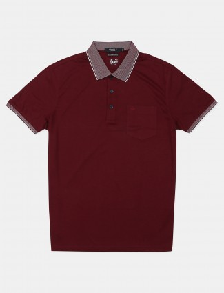 Psoulz solid maroon cotton polo t-shirt
