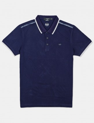 Psoulz solid navy polo t-shirt