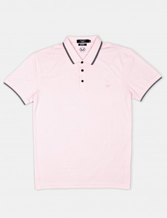Psoulz solid pink cotton slim fit polo t-shirt