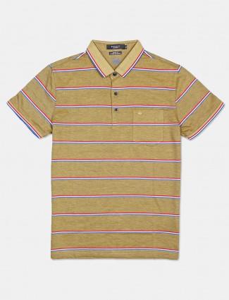Psoulz stripe mustard yellow polo t-shirt