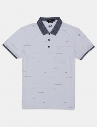 Psoulz white printed casual polo t-shirt for men