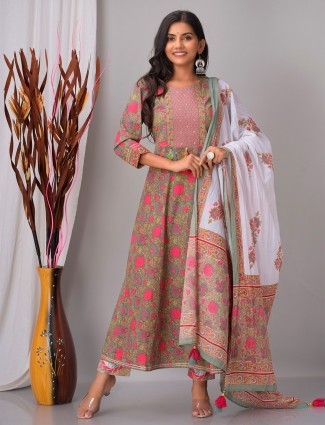 Punjabi anarkali style grey printed festive wear cotton pant set
