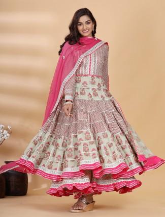 Punjabi anarkali style printed grey cotton palazzo suit for festivals