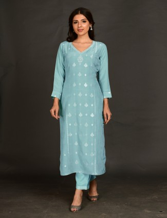 Punjabi baby blue hue pant set for women