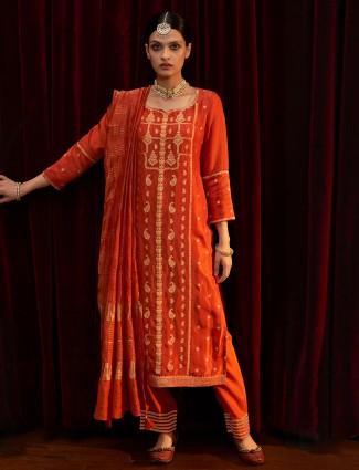 Punjabi festive wear orange silk kurti set