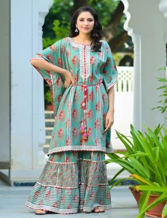Punjabi kaftan style ocean green printed cotton wedding sharara set