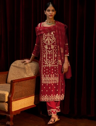 Punjabi maroon festive wear silk pant set