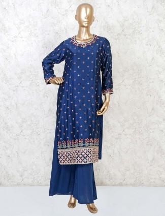 Punjabi palazzo suit in navy cotton silk