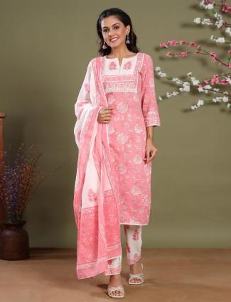 Punjabi rouge pink printed festive wear cotton pant set