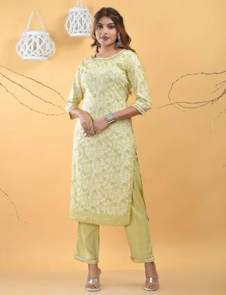 Punjabi style pista green printed festive wear cotton pant set