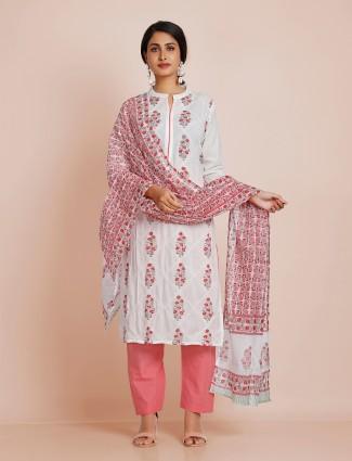 Punjabi style printed white cotton pant suit for festivals