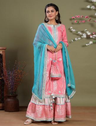 Punjabi style rose pink cotton sharara set for festive ceremonies