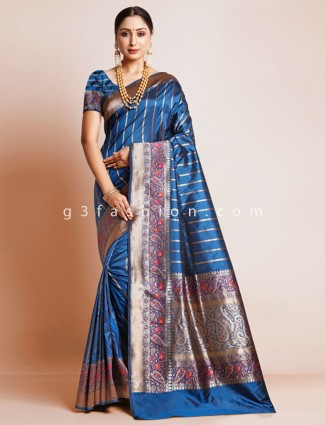 Pure silk saree in royal blue color