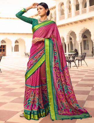 Purle traditional pretty wedding wear saree in patola silk