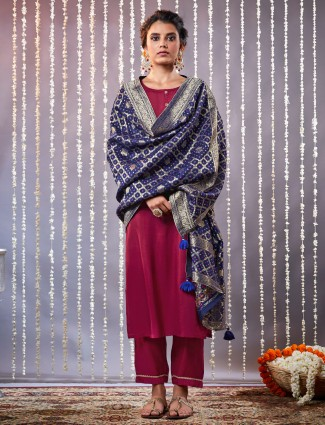 Purple aline kurta set with contrast dupatta in cotton