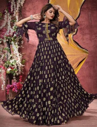 Purple anarkali suit for women in georgette for wedding