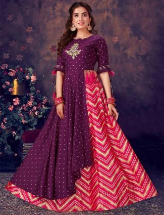 Purple and magenta cotton silk wedding occasions lehenga choli
