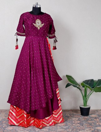 Purple and peach lehenga style suit with embroidered details