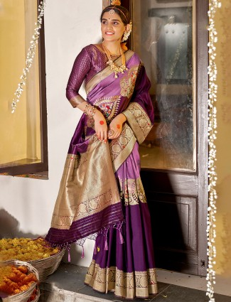 Purple and violet banarasi silk wedding occasions saree