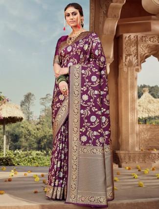 Purple banarasi silk designer saree for wedding ceremony