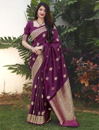 Purple banarasi silk festive wear saree