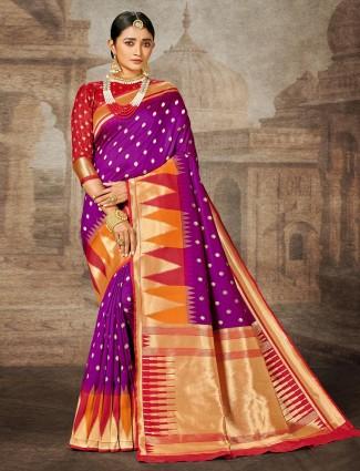 Purple banarasi silk wedding wear saree for women