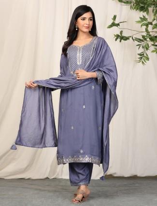 Grey charming punjabi style cotton festive wear pant suit