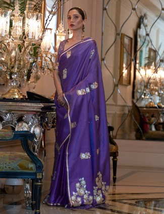 Purple color silk printed wedding events saree