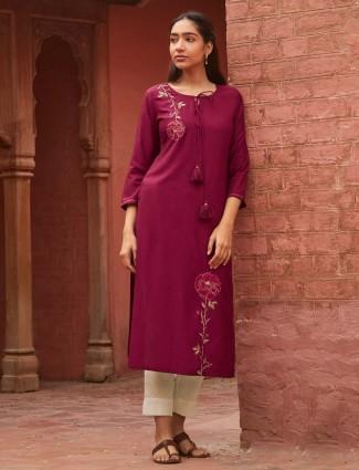 Purple cotton kurti for casual look