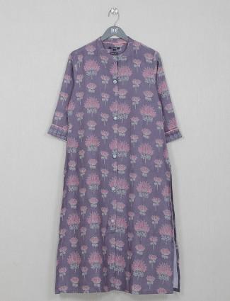 Purple cotton printed casual wear kurti